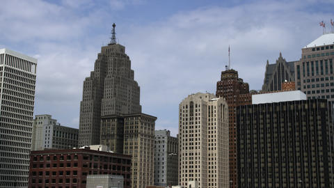 Panning right shot of the Detroit skyline Footage