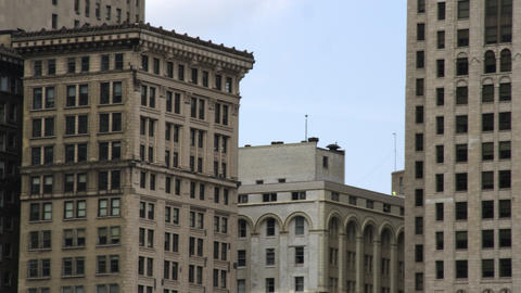 Tight panning shot of skyscrapers of Detroit Footage
