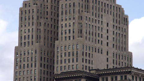 Tilting up shot of the Fisher building in Detroit Footage