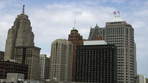 Panning shot of the Detroit skyline Footage