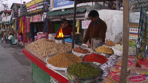 Nuts, lentils and dried spice and vegetable vendor Live Action