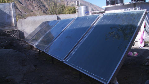 View of solar panels in a villiage in India Footage