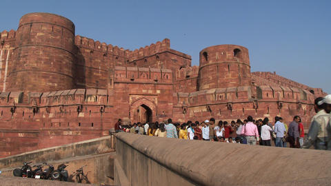 Tourists entering the red fort in Agra Footage