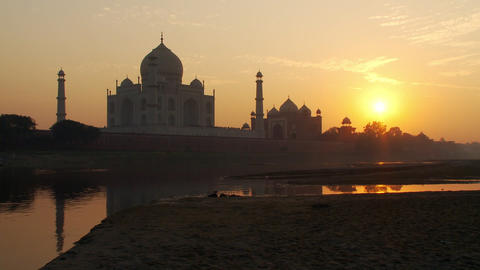 View of Taj Mahal at sunset Footage
