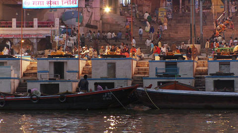 Shot of city docks and Ganges shoreline in India Footage
