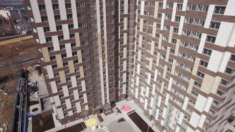 Aerial view new modern apartment block in Moscow, Russia Footage