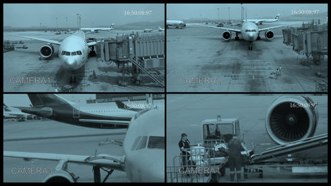 POV From a Security Camera at the Airport Footage