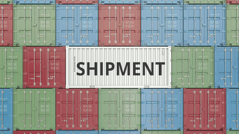 Container with SHIPMENT text. 3D animation Live Action