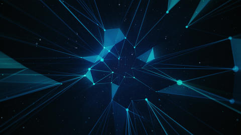 Abstract Neon Polygons on Dark Blue Background Animación