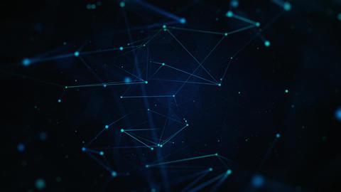 Neon Plexus Lines on Dark Blue Background Animation