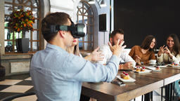 Future Technology Experts Testing Augmented Reality Headset Developer Footage