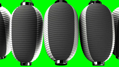 Black and white paper lantern on green chroma key CG動画