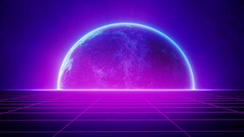 80s Retro Futuristic Blue Glowing Planet and Purple Grid Road Animation
