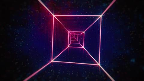 Neon Pink Rotating 80s Retro Tunnel Animation