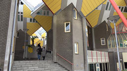 Netherlands South Holland Rotterdam outer stairway of famous Cube Houses Footage