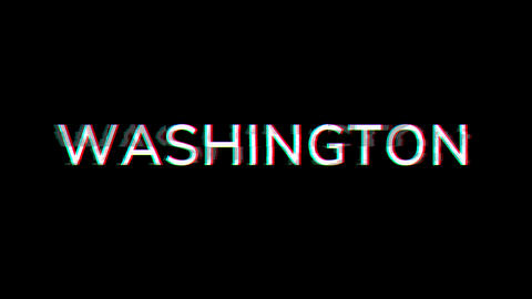 From the Glitch effect arises capital name WASHINGTON. Then the TV turns off. Alpha channel Animation