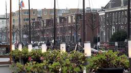 Netherlands South Holland Rotterdam cafe terrace in Delfshaven harbor GIF