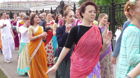 Singing and dancing of the Hare Krishnas Footage