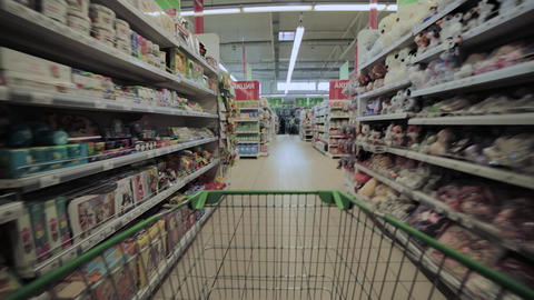 supermarket shopping time lapse shopping trolley Footage