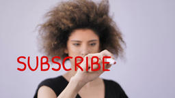 Subscribe now written by attractive woman Footage