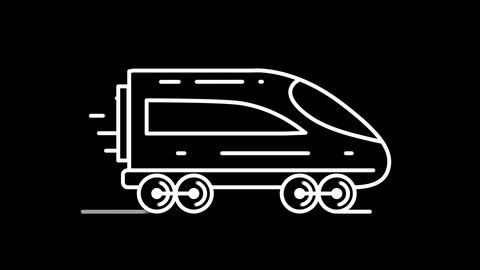 Express Train line icon on the Alpha Channel Animation