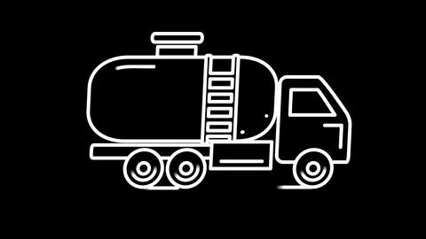 Gasolin tanker line icon on the Alpha Channel Animation