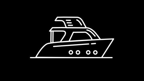 motor yacht line icon on the Alpha Channel Animation