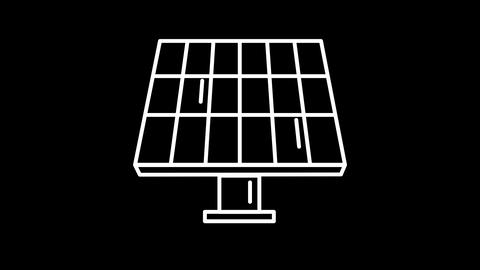 Solar Battery line icon on the Alpha Channel Animation