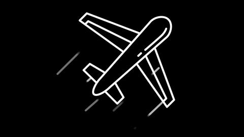 Aircraft line icon on the Alpha Channel Animation