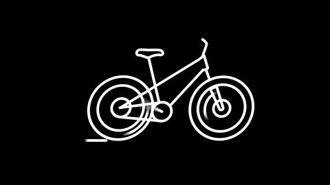Bicycle line icon on the Alpha Channel Animation