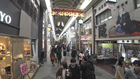 (3 times speed) Walking through Shinkyogoku-dori Shopping Street in Kyoto in the evening Live Action