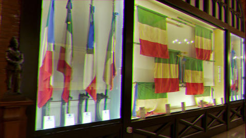 Glitch effect. Museum banners Navy. Vittoriano. Rome, Italy Footage