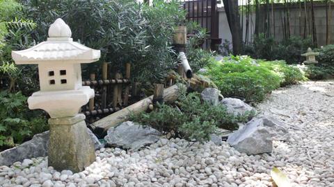Bamboo flowing water decorated in zen garden Footage