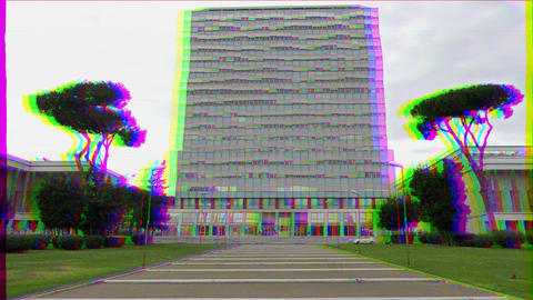 Glitch effect. House on Piazza Guglielmo Marconi. EUR district. Rome, Italy Live Action