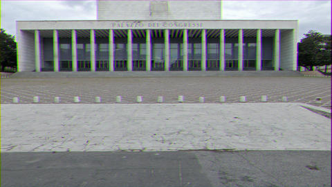 Glitch effect. Palace of Congresses (Palazzo di Congressi). EUR district. Rome, Italy Live Action