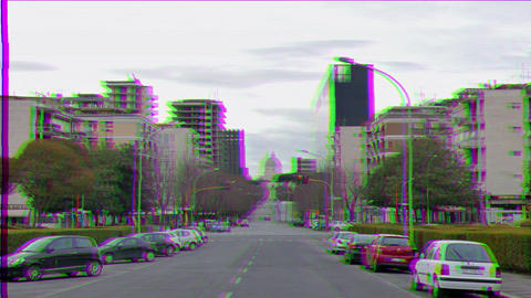 Glitch effect. Viale Europa. EUR district. Rome, Italy Live Action
