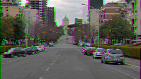 Glitch effect. Viale Europa. Zoom. Rome, Italy Live Action