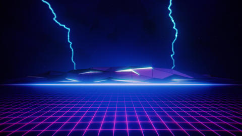 80s Pink Retro Grid and Blue Lightning CG動画素材