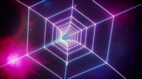Pink Retro Hexagon Grid Tunnel and Distant Planets in Space Animation