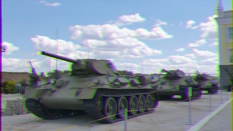 Glitch effect. Older tanks. Part 2. Museum of military equipment, Pyshma, Ekaterinburg, Russia Footage