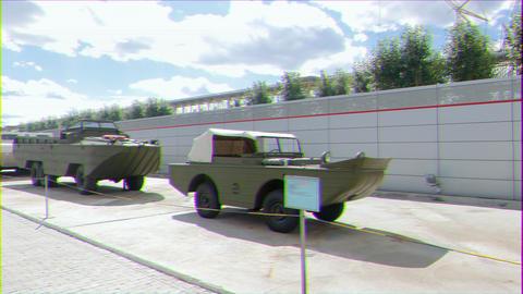 Glitch effect. vehicle - amphibians. Pyshma, Ekaterinburg, Russia Footage