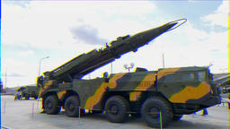 Glitch effect. Self-loading launcher 'Elbrus'. (P-17 SS-1c Scud B) Ekaterinburg, Russia Footage