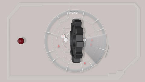Grey Abstract Tech Hud Interface Gear Animation with red sphere Animation