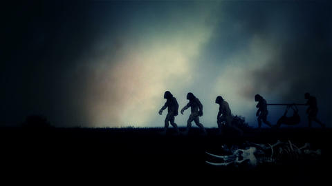 Group of Cavemen After Hunting with Dead Deer Under Storm Live Action