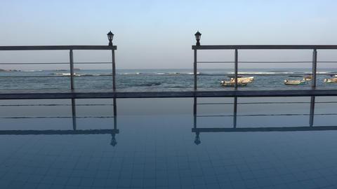 View of the Beach from the Shade Hikkaduwa Sri Lanka Footage