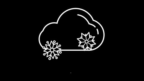 Cloud with Snow weather forecast line icon on the Alpha Channel Animation