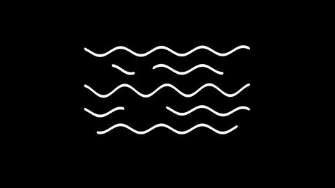 Waves weather forecast line icon on the Alpha Channel Animation