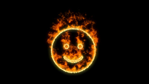 smile symbol inflames. Then disappears. In - Out loop. Alpha channel Premultiplied - Matted with Animation
