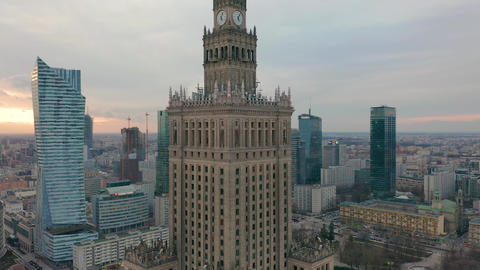 Busy Warsaw city centre with Palace of Culture and Science and other new Live Action