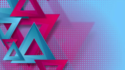 Vibrant pink and blue triangles abstract video animation Animation